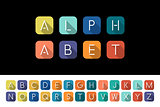 Flat icons alphabet - colorful flat design.
