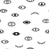 Simple seamless pattern with eyes. Memphis background - fashion style 80 - 90s.