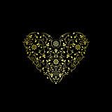 Luxury ornate heart. Floral gold design.
