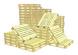 Wooden pallets. Isolated on white