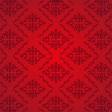 Seamless Damask Pattern Red Background