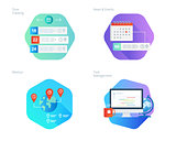 Material design icons set for time manager, news and events, meetup, task management, time tracking