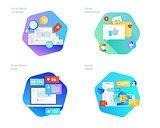 Material design icons set for social media, networking, marketing, campaign and apps