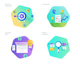 Material design icons set for business plan and objectives, market research, investment