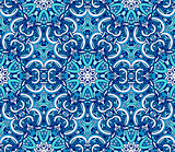 vintage blue geometric mosaic seamless pattern ornamental