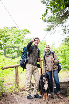Hikers with dog in forest
