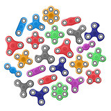 Realistic set of hand spinner toys different colors. vector icons