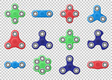 Set of colored Hand spinner realistic vector illustration. Hand spinner tricks isolated on transparent background