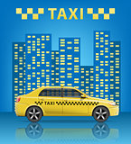 Realistic Taxi car with blue city background. City taxi banner. Vector illustration