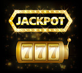 Jackpot casino lotto label background sign. Casino jackpot 777 gamble winner with text shining symbol isolated on white. Vector illustration