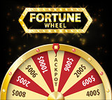 Gold realistic wheel of fortune 3d object isolated on dark background with place for text. lucky roulette vector illustration