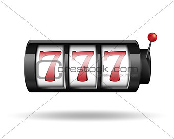 Slot machine with lucky sevens. Gamble game for casino, lucky and success jackpot illustration. Vector.