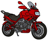 Red heavy motorcycle