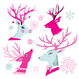 Vector christmas set of deer heads