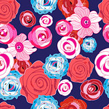 Multi-colored summer pattern different roses