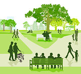Generation together in the park, illustration