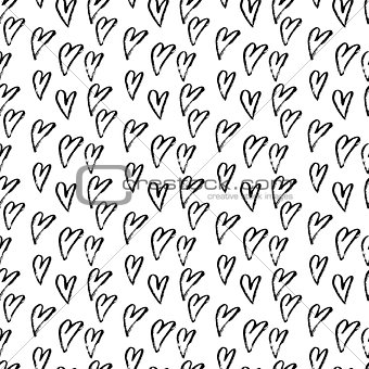 Abstract seamless hearts pattern. Ink grunge illustration. Black and white background.