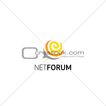 Abstract spiral dialog window for chat, forum, network community. Vector isolated logo.