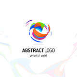 Colorful twisting swirl abstract logo. Curled dynamic circle shape, movement vector logotype. Brush stroke vector illustration.