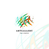 Abstract art gallery vector modern logo. Unusual isolated paint picture logotype. Bright colorful creative sketch smearing art.