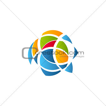Cubism art logotype, colorful stained-glass window template. Isolated abstract decorative logo, ragged design element on white background.