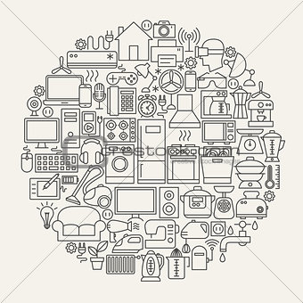 Household Line Icons Circle