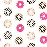 Donut glazed seamless vector pattern.
