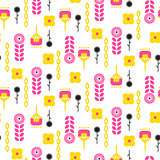 Scandinavian folk floral art pattern seamless vector.