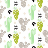 Cactus plant vector seamless pattern. Abstract hipster desert nature fabric print.