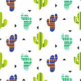 Cacti tribal vector seamless pattern. Mexican style color cacti textile print.