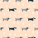 Dachshund dog scandinavian seamless vector peach colored pattern.
