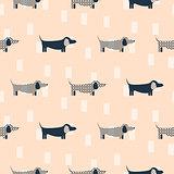 Dachshund dog scandinavian seamless vector peach colored pattern.