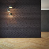 empty room with light, 3d rendering