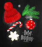 Christmas symbols hat chalk
