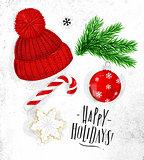 Christmas symbols hat