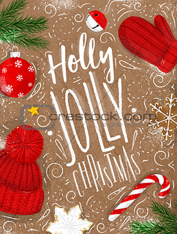 Poster holly jolly christmas craft