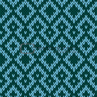 Knitted seamless pattern in turquoise and green