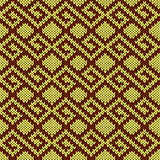 Knitted seamless pattern in yellow and brown