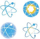Set of atom molecule logos signs