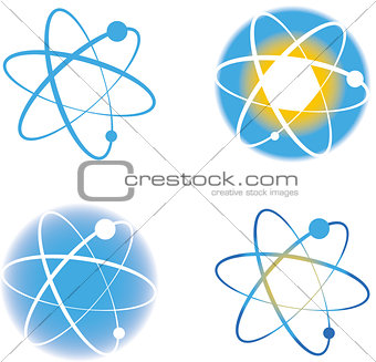 Set of atom molecule logos signs