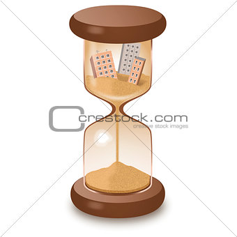 Hourglass leaking time illustration
