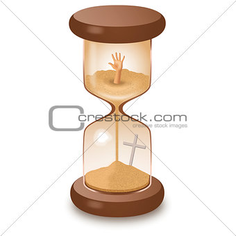 Hourglass sand glass leaking killing time illustration