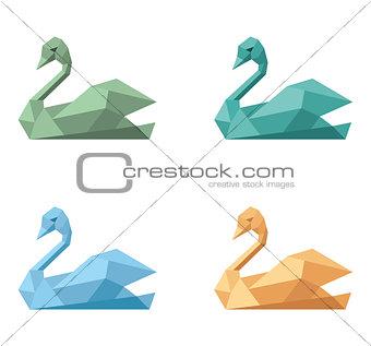 Swan polygonal icon symbol emblem