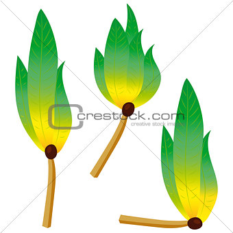 Green flame fire logo emblem
