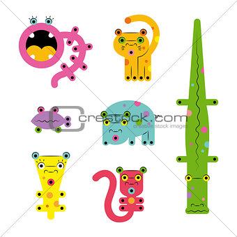 Set of various cartoon сreatures animals
