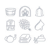 Spa, sauna linear icons. Fireplace, mitt, herbal tea, sauna broom and other accessories for the bath. Health and body care thin line icons.
