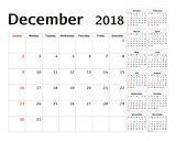 Simple calendar planner for 2018 year. Vector design December template. Set of 12 months. Week starts sunday. Calendar planning week.