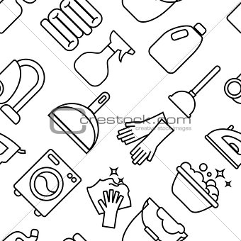 Cleaning, wash line icons. Washing machine, sponge, mop, iron, vacuum cleaner, shovel clining background. Order in the house thin linear backdrop for cleaning.