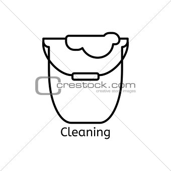 Cleaning simple line icon. Wash thin linear signs. Washing floors simple concept for websites, infographic, mobile applications.