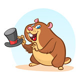 Happy Groundhog Day. Vector illustration with cartoon grounhog holding hat